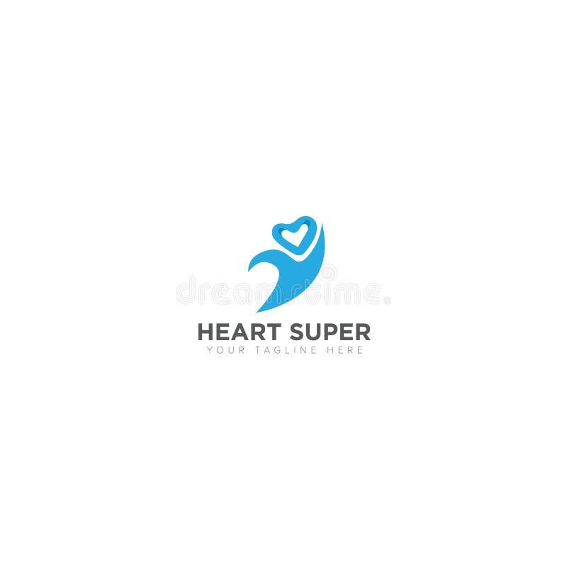 Логотип сердца супер с абстрактными людьми иллюстрация вектора