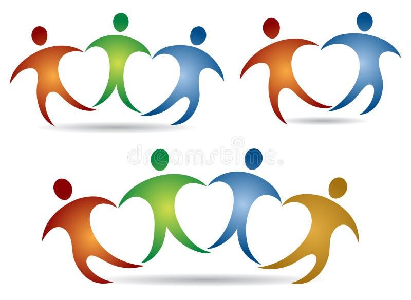 Логотип сердца людей иллюстрация штока
