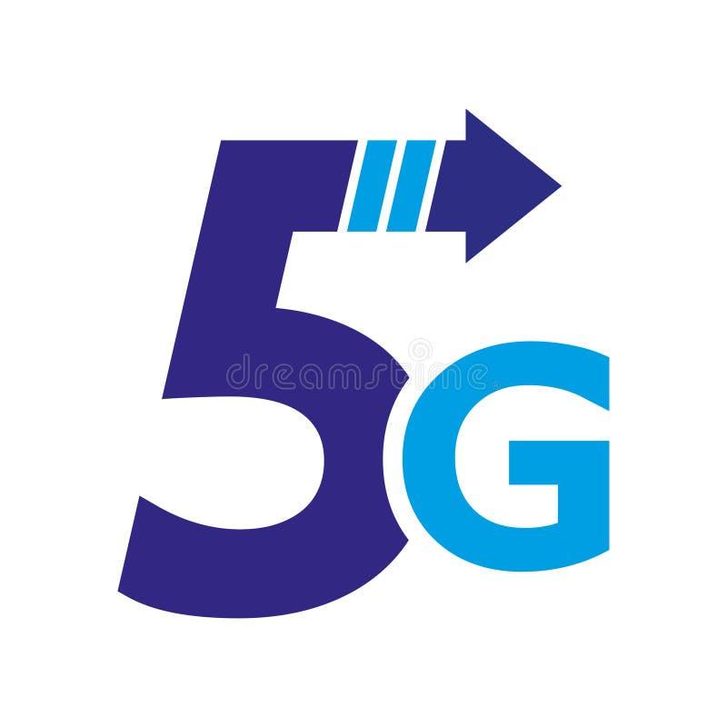 логотип сети 5-ого поколения мобильный Изолированный значок вектора 5G Высокоскоростные беспроводные системы соединения подписыва иллюстрация штока