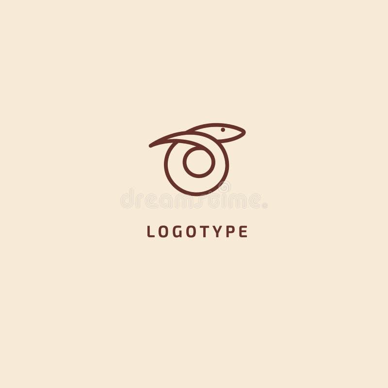 логотип силуэта змейки Хищник иллюстрации конспекта вектора minimalistic Значок герпетологии Terrarium, стиль вектора зоомагазина иллюстрация штока