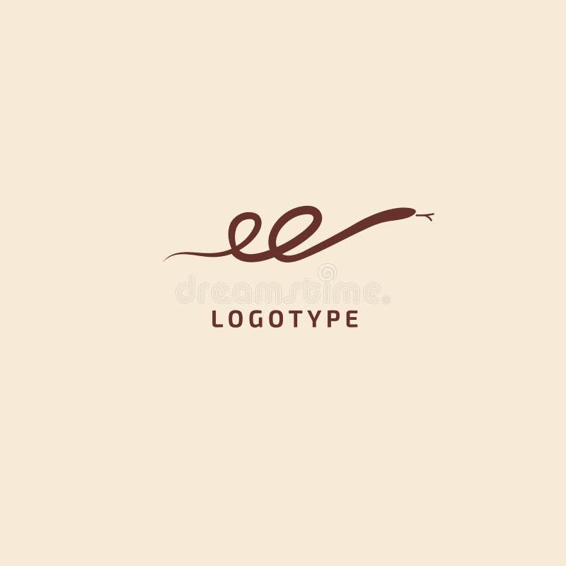 логотип силуэта змейки Хищник иллюстрации конспекта вектора minimalistic Значок герпетологии Terrarium, стиль вектора зоомагазина бесплатная иллюстрация