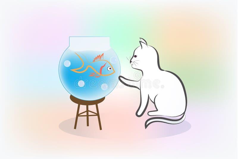Логотип силуэта кота и рыб иллюстрация штока