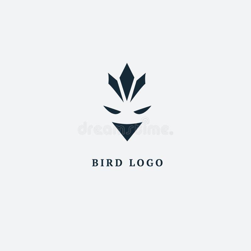 Логотип силуэта птицы Птица летания иллюстрации вектора абстрактная minimalistic Орел, значок сокола Зоопарк, зоомагазин, ферма,  иллюстрация штока