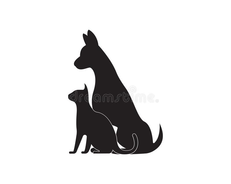 Логотип силуэтов вектора кота и собаки иллюстрация штока