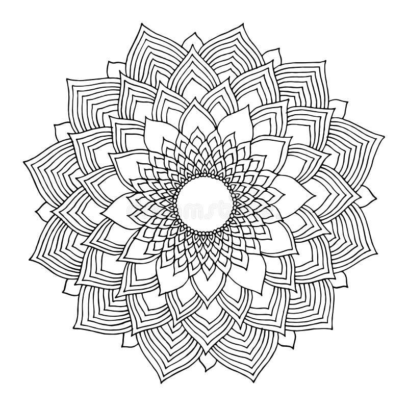 Логотип символа значка мандалы Chakra, цветет флористические лист, чертеж руки вектора иллюстрация штока
