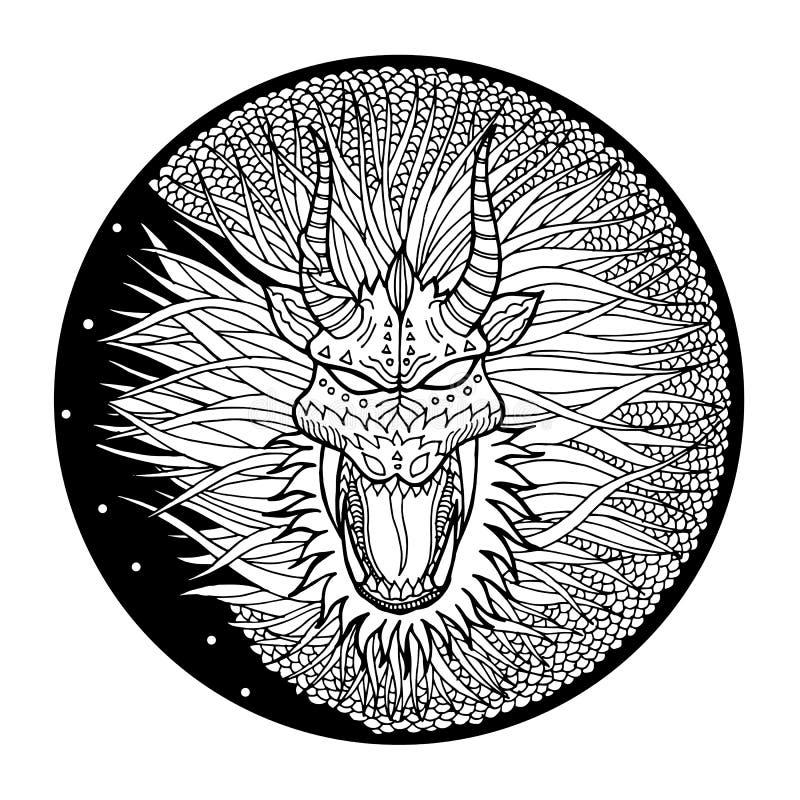 Логотип символа знака дракона, округлая форма круга, рука нарисованный вектор иллюстрация штока