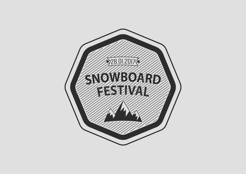 Логотип сноуборда винтажный круговой, плоский стоковое изображение