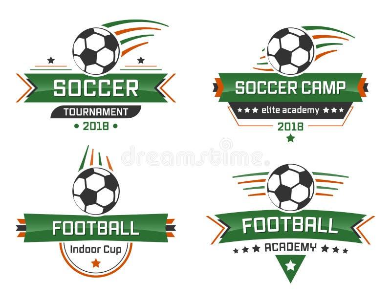 Логотип спорта Академия футбола Крытая чашка Лагерь и турнир футбола иллюстрация штока