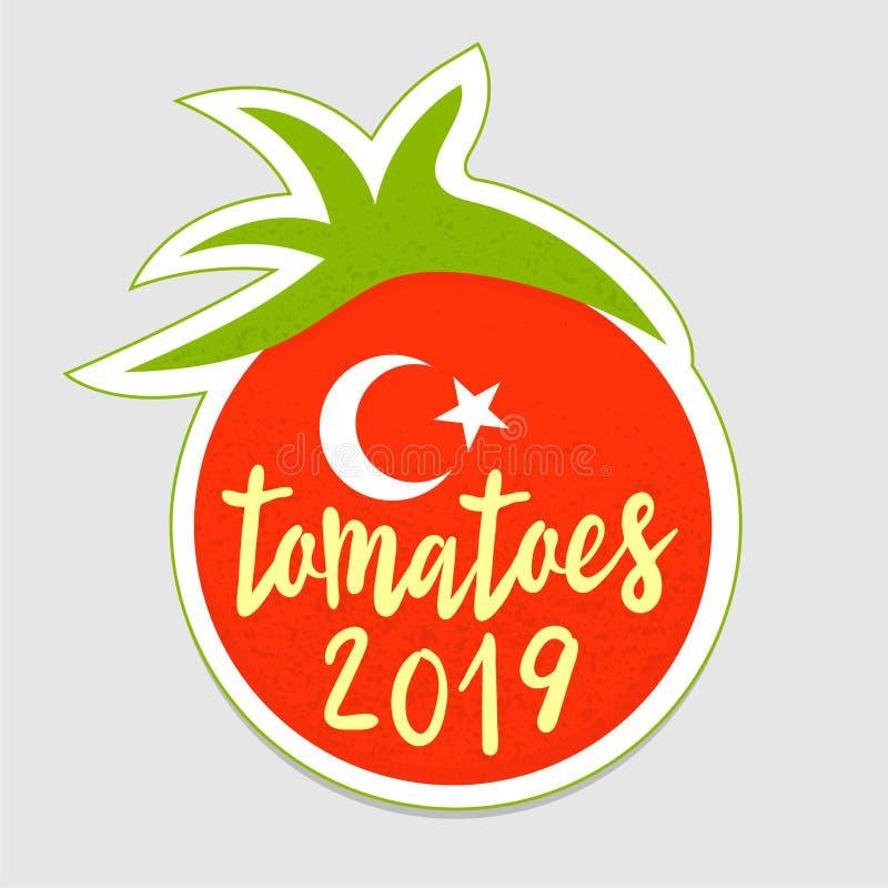 Логотип стикера томата Турции Этот символ соответствующий для праздновать сбор, увеличивающ продажи концепции томата r бесплатная иллюстрация