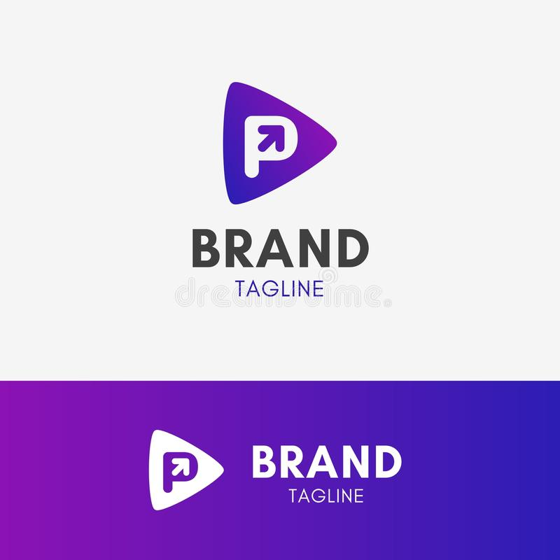 Логотип стрелки p письма иллюстрация вектора