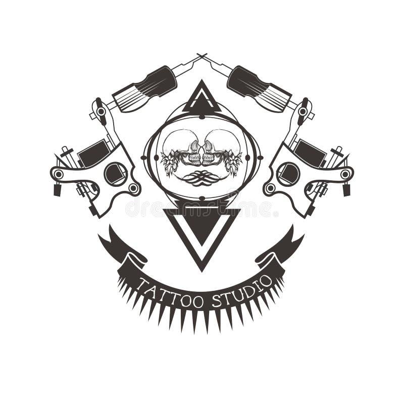 Логотип студии татуировки, эмблема иллюстрация вектора