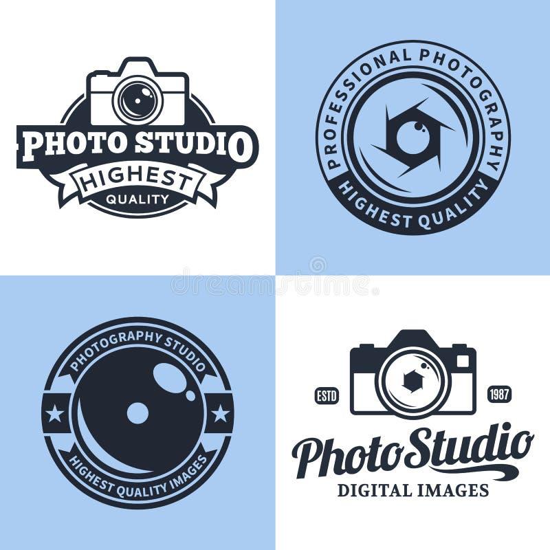 Логотип студии фотографии, ярлыки, значки и элементы дизайна иллюстрация штока