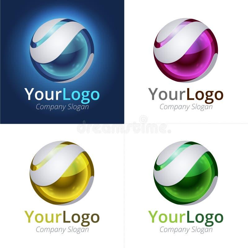 Логотип сферы 3D иллюстрация штока