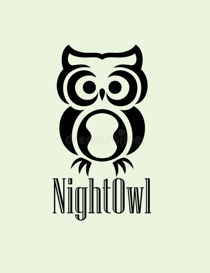 Логотип сыча ночи иллюстрация вектора