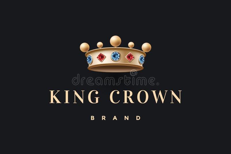 Логотип с кроной короля золота и королем королевским клеймом надписи иллюстрация вектора