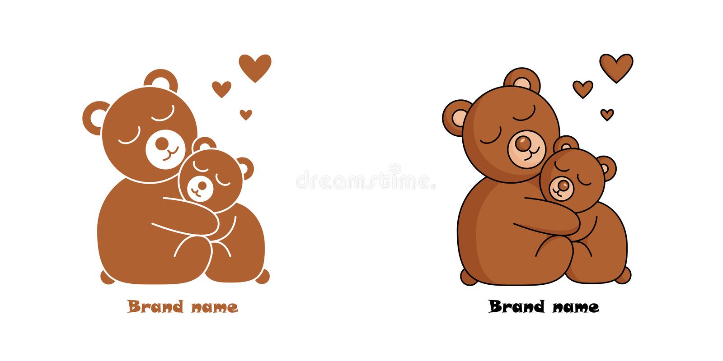 Логотип с 2 обнимая медведями и сердцами иллюстрация вектора