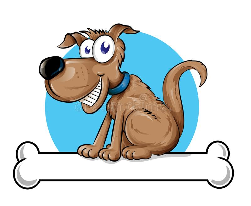 Логотип талисмана собаки с косточкой r иллюстрация вектора