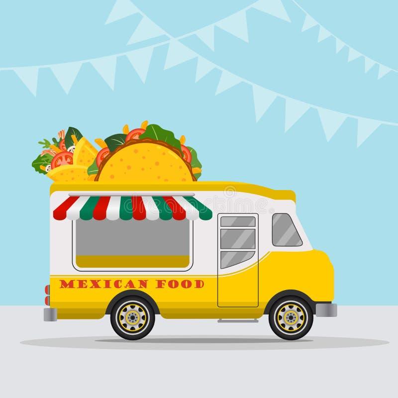 Логотип тележки еды для фестиваля еды обслуживания или лета доставки еды мексиканской кухни быстрого Фургон тележки с мексиканско бесплатная иллюстрация