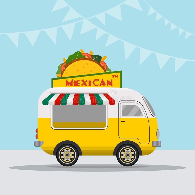 Логотип тележки еды для фестиваля еды обслуживания или лета доставки еды мексиканской кухни быстрого Фургон тележки с мексиканско иллюстрация штока