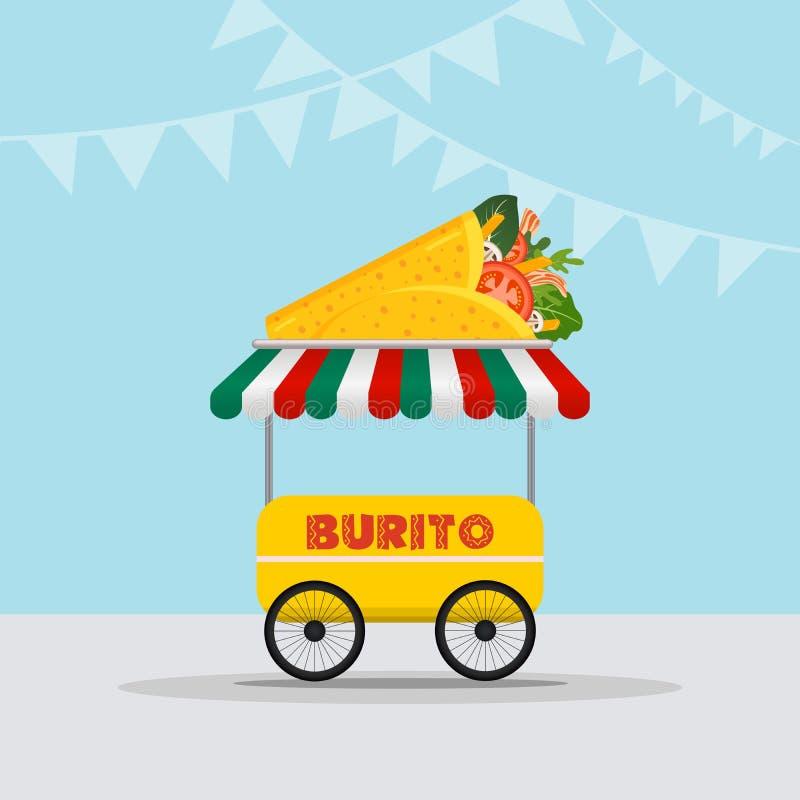 Логотип тележки еды для фестиваля еды обслуживания или лета доставки еды мексиканской кухни быстрого Фургон тележки с мексиканско иллюстрация вектора