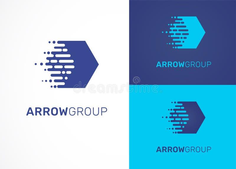 Логотип - технология, техник, значок стрелки и символ иллюстрация штока