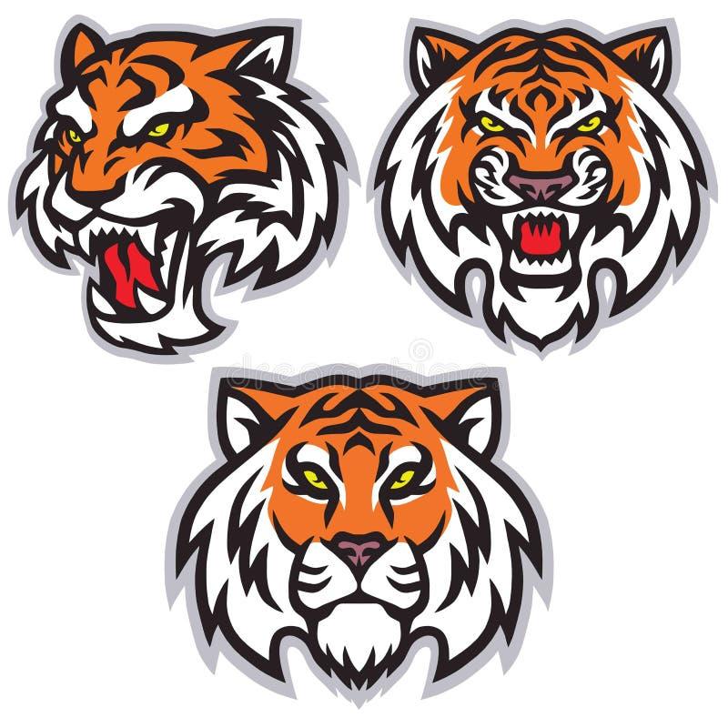 Логотип тигра главный установил пакет дизайна талисмана вектора шабл иллюстрация вектора