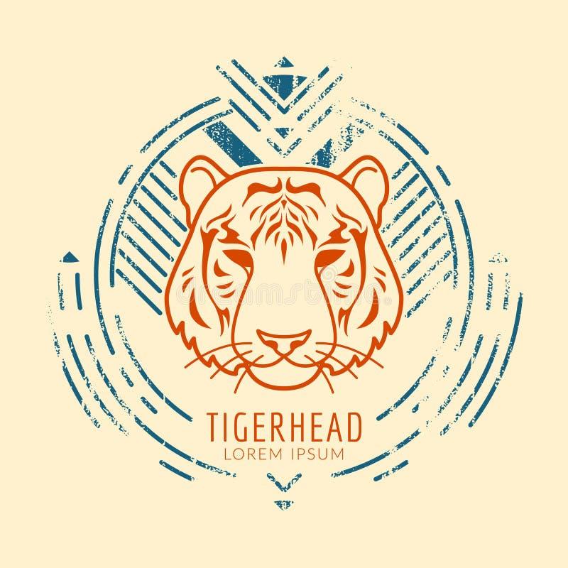 Логотип тигра головной в рамке иллюстрация вектора