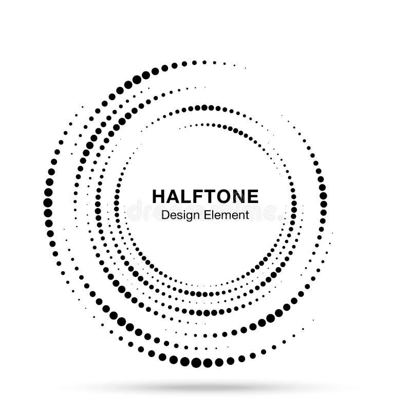 Логотип точек рамки круга вортекса полутонового изображения изолированный на белой предпосылке Круговой элемент дизайна свирли по иллюстрация вектора