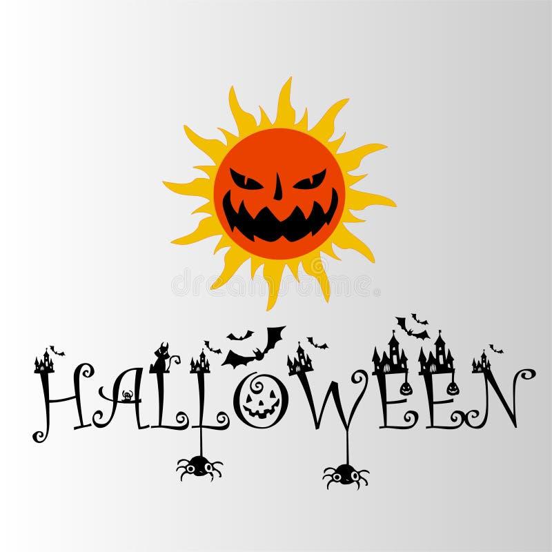 Логотип ужаса солнца хеллоуина EPS стоковое фото rf