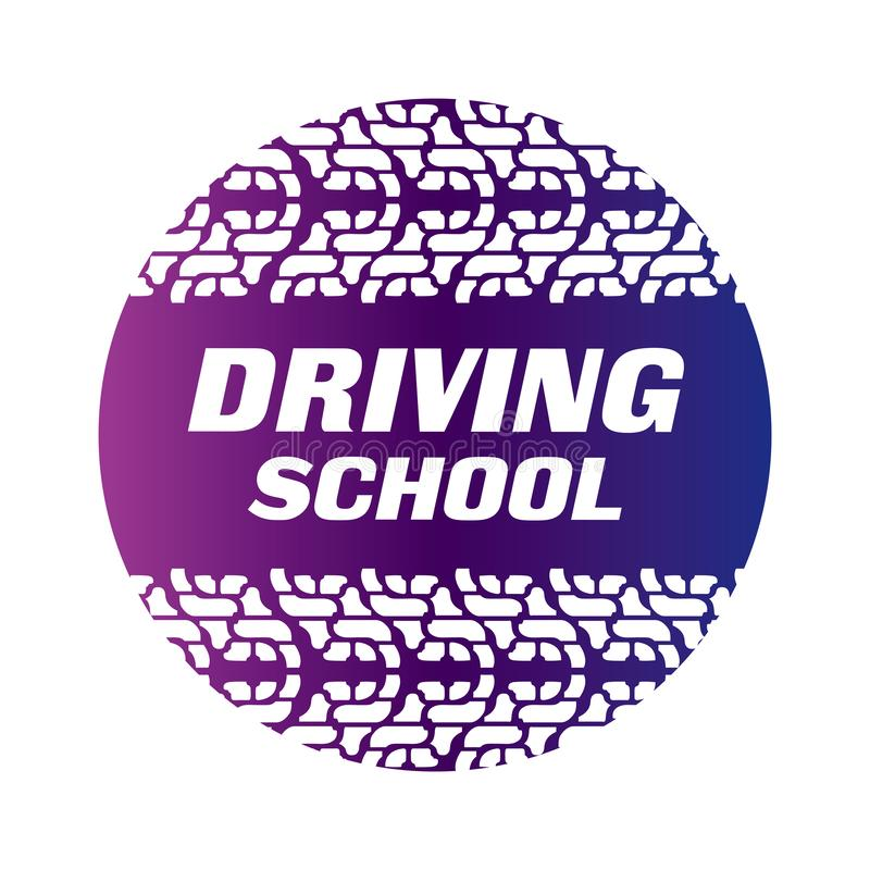 Логотип управляя школы, автомобиля и механика иллюстрация штока