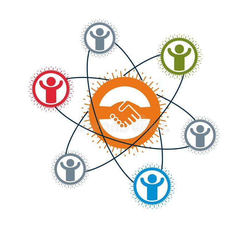 Логотип успешного дела творческий, знак дела рукопожатия, символ вектора схематический изолированный на белой предпосылке Особенн иллюстрация штока