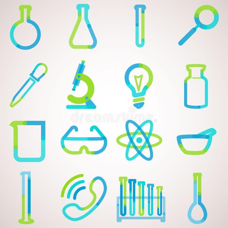 Логотип установил для лаборатории иллюстрация вектора