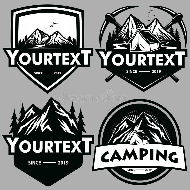 Логотип установил для приключения горы, располагающся лагерем, взбирающся экспедиция Винтажный логотип вектора и ярлыки, иллюстра бесплатная иллюстрация