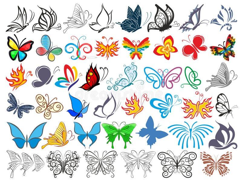 Логотип установленный с бабочками иллюстрация вектора