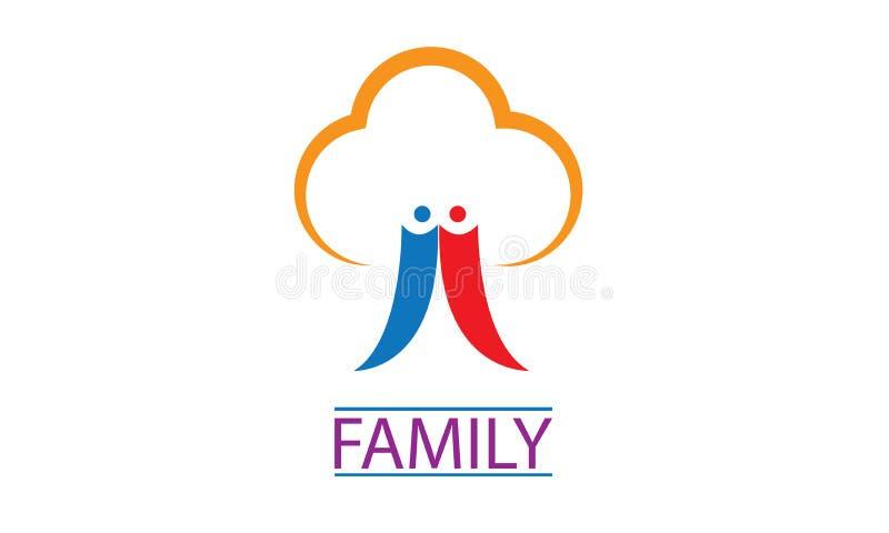 Логотип фамильного дерев дерева - логотип дерева людей семьи - шаблон логотипа семьи соединения счастливый иллюстрация вектора