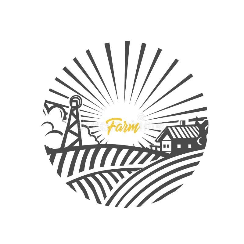 Логотип фермы Светотеневая иллюстрация иллюстрация вектора