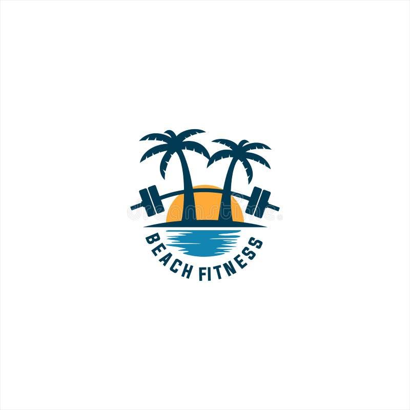 Логотип фитнеса пляжа иллюстрация штока