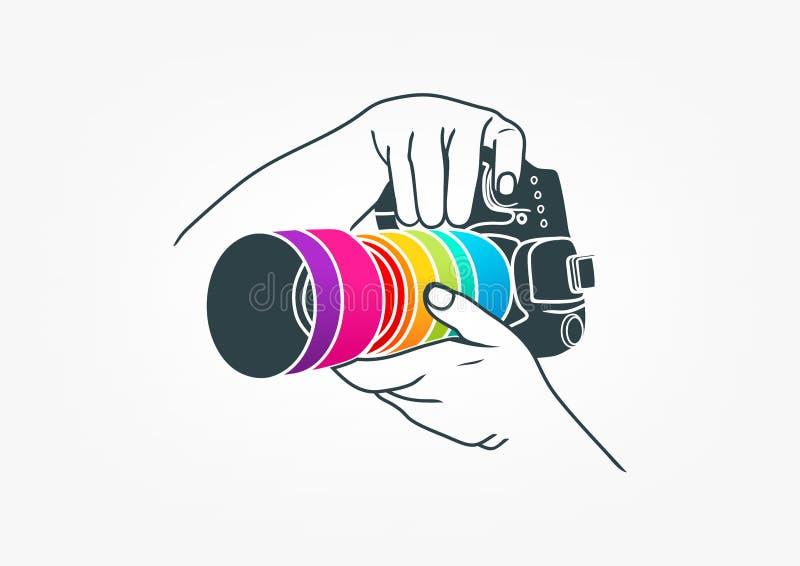 Логотип фотографии, дизайн концепции камеры иллюстрация вектора