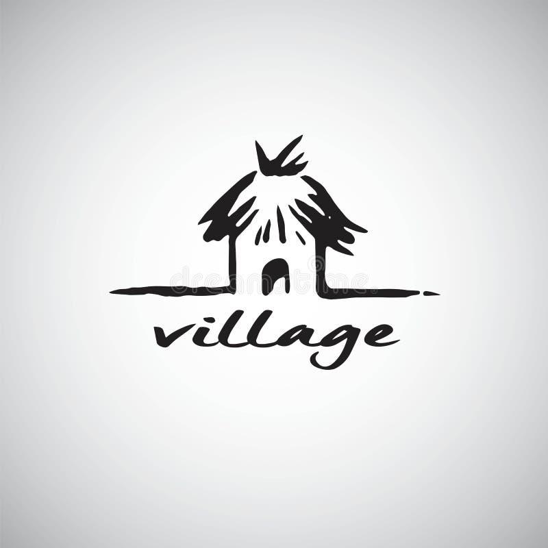 Логотип хаты деревни Шаблон дизайна иллюстрации вектора бесплатная иллюстрация