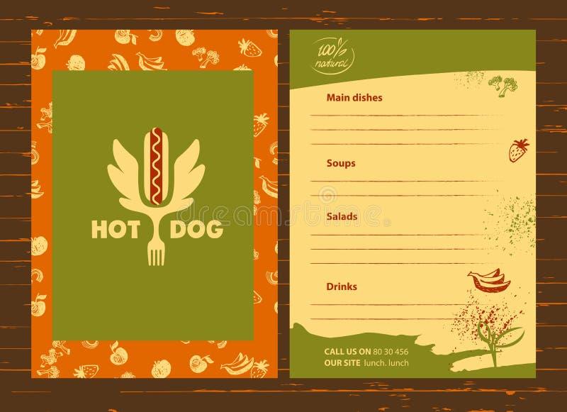 Логотип хот-дога Логотип вектора для фаст-фуда Быстрый и вкусный I иллюстрация вектора