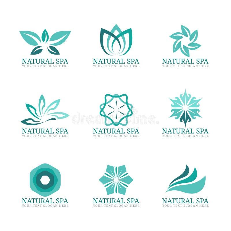 Логотип цветка и лист vector установленный дизайн для салона или гостиницы курорта красоты бесплатная иллюстрация