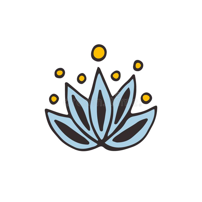 Логотип цветка лотоса Значок вектора Doodle иллюстрация штока