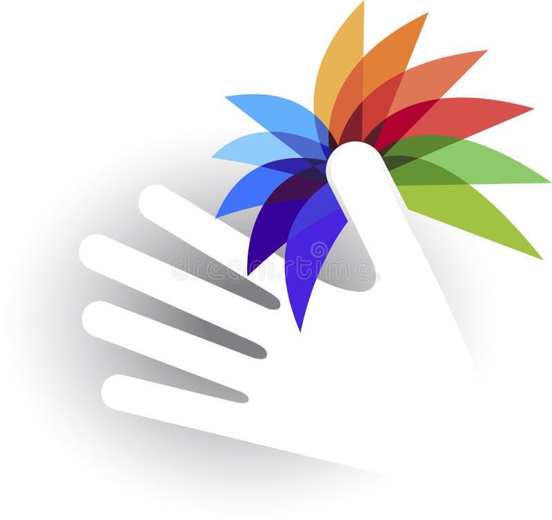 Логотип цветка руки иллюстрация штока