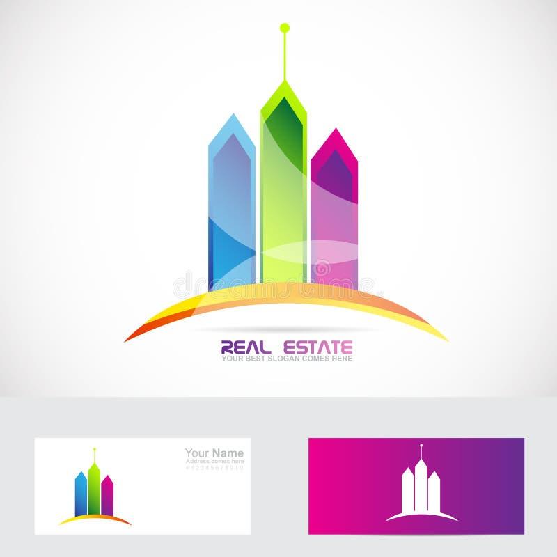 Логотип цветов зданий недвижимости иллюстрация штока