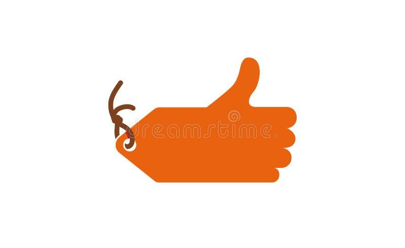 Логотип цены ярлыка большого пальца руки вверх проданный иллюстрация штока