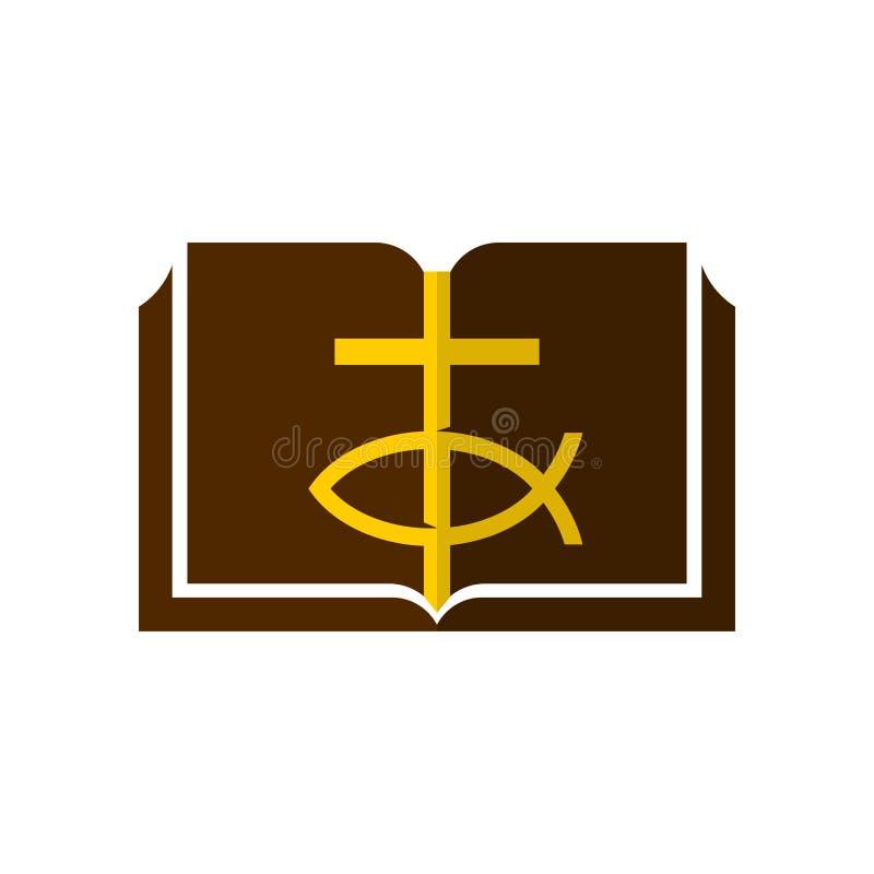 Логотип церков Крест Иисуса, знак рыб и открытых страниц библии иллюстрация вектора