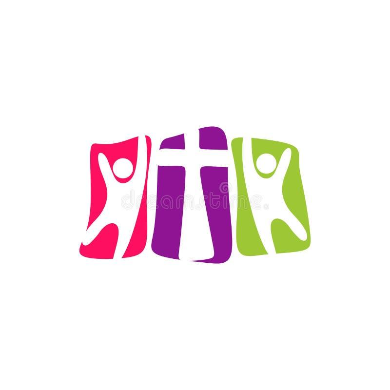 Логотип церков Христианские символы Люди поклоняются лорд Иисус Христос иллюстрация вектора