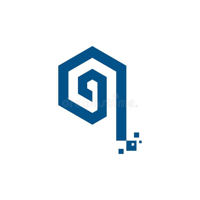 Логотип цифровой технологии шестиугольника компьютера письма цифров q иллюстрация вектора