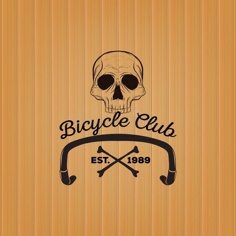 Логотип черепа, логотип клуба велосипеда иллюстрация вектора