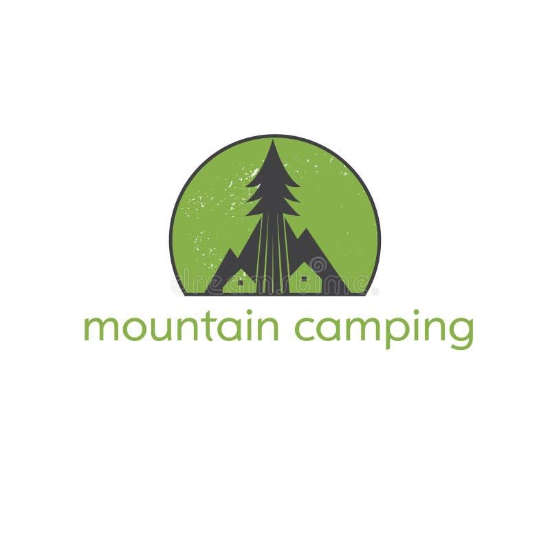 Логотип шаблона с располагаясь лагерем шатром, горами и деревом бесплатная иллюстрация
